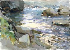 John Singer Sargent -Stream and Rocks, wc, gouache & graphite