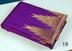 Purple temple border kanjeevaram saree