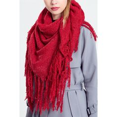 Red Soft Long Scarf with Fringe ($25) ❤ liked on Polyvore featuring accessories, scarves, long scarves, fringed shawls, oblong scarves, fringe scarves and red shawl
