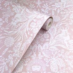 Holden Décor Harlen Coral Pink 90161 is part of Holden Decor Harlen Coral Pink Wallpaper Floral Wallpaper Holden Décor Harlen is a beautiful, woodland themed wallpaper Depicting rabbits, hedg - Dusky Pink Wallpaper, Pink Wallpaper Bedroom, Luxury Wallpaper, Damask Wallpaper, Trendy Wallpaper, Rabbit Wallpaper, Wood Wallpaper, Wallpaper Ideas, Dusky Pink Bedroom