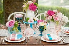 pink-turquoise wedding