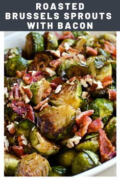 Oven-Roasted Brussels Sprouts With Bacon Recipe - Winter Recipes - Roasted Brussels Sprouts With Bacon, Pecans, and Maple-Balsamic Vinaigrette Recipe Roasted Brussel Sprouts Bacon, Brussels Sprouts Recipe With Bacon, Roasted Bacon, Best Brussel Sprout Recipe, Bacon Recipes, Vegetable Recipes, Cooking Recipes, Chef Recipes, Balsamic Vinaigrette Recipe