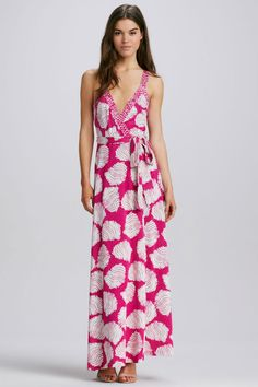 I love this dress. It's pink (my fave color) and it's a wrap dress. What's not to love? When I saw it on sale at Nordstrom, I HAD to buy it. - Diane von Furstenberg Samson Printed Maxi Dress