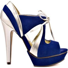Michael Antonio Women's Kambria - Blue VL ($68) ❤ liked on Polyvore featuring shoes, pumps, multi-color pumps, gold high heel shoes, high heel shoes, blue pumps and blue high heel pumps