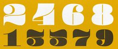 """Pompadour Numerals free font: """"a chunky, display numeral sets inspired by the 1950s Rockabilly Hairdo. The numbers, which each fit perfectly inside of a square, are best used in large sizes"""""""