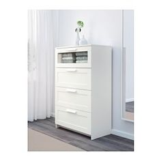 IKEA - BRIMNES, 4-drawer dresser, white/frosted glass, , Smooth running drawers with pull-out stop.
