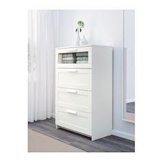 IKEA - BRIMNES, Cómoda de 4 cajones, blanco/vidrio esmerilado, , Para que tu casa sea un lugar seguro para toda la familia, incluye un herraje de seguridad por si quieres fijar la cajonera a la pared.Los cajones, fáciles de abrir y cerrar, llevan topes.