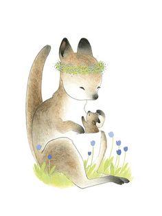 Kangaroo Momma & Little One Two Black Cats Studio/ Darla Okada Animal Drawings, Cute Drawings, Kangaroo Drawing, Baby Joey, Baby Koala, Cute Animals, Draw Animals, Baby Art, Flat Illustration