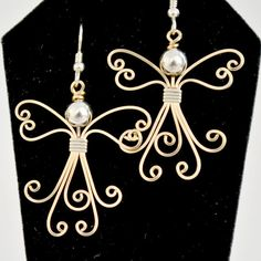 These would make great ornaments using craft wire! Wire wrapped Angel earrings. 14K gold filled by Untwistedsister, $35.00