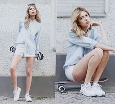 Get this look: http://lb.nu/look/7500412  More looks by Ebba Zingmark: http://lb.nu/ebbaz  Items in this look:  Whyred Shirt, 2hand Shorts, Nike Sneakers, Junkyard Board   #casual #sporty #street