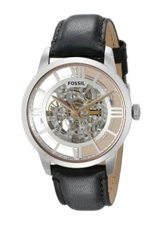 2c39f2ec796 Fossil Mens Townsman Automatic Stainless Steel Skeleton Watch With Black  Leather Band -- For more information
