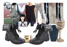 """Goblet Goth"" by lerp ❤ liked on Polyvore featuring Onzie, Seok, Killstar, Night Owl Paper Goods, Velvet by Graham & Spencer and Ponytail Pals"