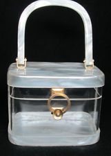 VINTAGE LUCITE BOX PURSE, MARBLEIZED PEARL WHITE + CLEAR, NICE~~~