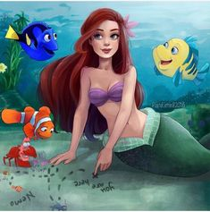 Ariel and Flounder (Little Mermaid) with Dory, Marlin, and Nemo (Finding Nemo)