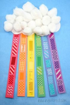 Washi Tape Rainbow Craft for Kids - St Patricks Day Craft- Cute idea, but I'd use cut ribbon Fox Crafts, Cross Crafts, St Patrick's Day Crafts, Bunny Crafts, Preschool Crafts, Preschool Ideas, Kids Crafts, Teaching Ideas, Rainbow Activities