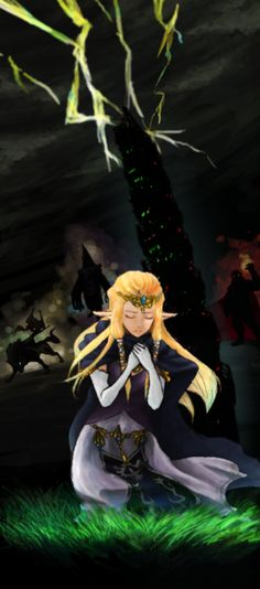 Princess Zelda praying for her land of Hyrule while it is enveloped in Twilight, Midna on wolf Link, Zant, and Ganondorf in the background - The Legend of Zelda: Twilight Princess