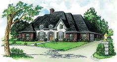 4 Bedrooms, 3 Bath house plan with  Raised Ceiling in Den/Master  Huge Master Suite  w/ Elegant Oversize Bath   Fireplace in Den Flanked by  Shelves/Cabinets  Gourmet Kitchen w/eating Bar  Bay Window in Breakfast Area  Large Utility & Storage  Striking French Styling    Living Area: 2,735 sq. ft.  Total Area:  3,542 sq. ft.  This is a great home design.