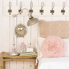 delightful lamp, pillow, really cool hooks, clock....vintage shabby love!