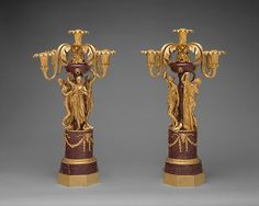 Pair of five-light candelabra - Luigi Valadier (Italian, Rome 1726–1785 Rome), Maker: Possibly in collaboration with Lorenzo Cardelli, Date: 1774, Italian, Rome, Gilt bronze, porphyry, Dimensions: Each: H. 27 x W. 18 15/16 in. (68.6 x 48.1 cm)