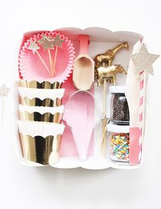 DIY cookie decorating party kit. (This could be a fun gift for a child who likes to bake.)