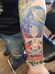 23 Rick and Morty Tattoos - The Body is a Canvas Tatuaje Rick And Morty, Rick And Morty Tattoo, One Punch Man, Pickle Rick Tattoo, Ricks Tattoo, Dragon Ball, Most Popular Tv Shows, Piercings, Summer Tattoo