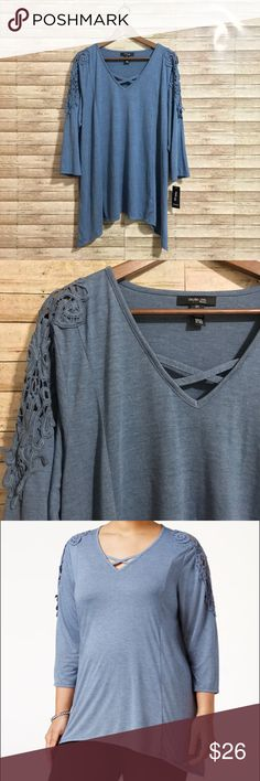 NWT Cozy Top w/bridge hem & crochet detail NWT Cozy Top w/bridge hem & crochet detail  from Macy's.  Soft & stretchy jersey material in a pretty blue-grey color.  On-trend faux lace-up neckline & crochet detail on arms.  Comfy, flattering, stylish and versatile. Never worn!  Pair with one or more other items from my closet for a 15% bundle discount! Also, I ❤️ reasonable offers! Thank you! 😊💕 Style & Co Tops