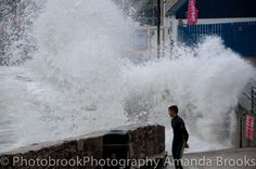 Man nearly swept into the sea in Newquay storm swell Newquay, Cornwall, Niagara Falls, Waves, Sea, Sunset, Nature, Outdoor, Outdoors