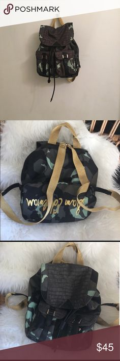 Sam Eldelman camo backpack Dimensions: 14x14 No flaws Not UO Bought at Nordstrom  Adorable mini backpack with bright gold straps. Sold out everywhere when first came out. Urban Outfitters Bags Backpacks