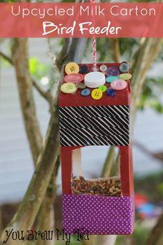 Upcycled Craft - Milk Carton Bird Feeder