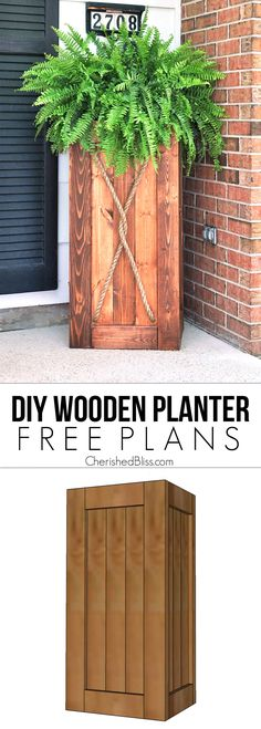 Planter Tutorial Build this Easy DIY Planter to add instant curb appeal to your home!Build this Easy DIY Planter to add instant curb appeal to your home! Tall Wooden Planters, Outdoor Planters, Garden Planters, Pallet Planters, Rustic Planters, Outdoor Gardens, Indoor Outdoor, Woodworking Projects Diy, Diy Wood Projects