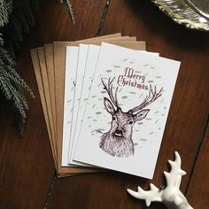 Illustrated Stag Christmas Card Set  Pack of 4