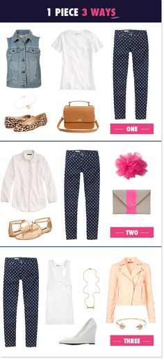 Polka Dot Pants: One Piece Three Ways |
