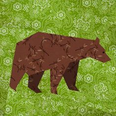 (7) Name: 'Quilting : Bear paper pieced block