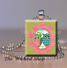 Scrabble Tile Pendant Necklace  Owls in Pink by TheWickedShop, $7.95
