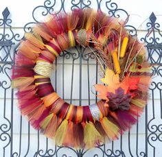 I think i could make this......Autumn/ Fall Tulle Wreath- A MUST SEE. $54.99, via Etsy.