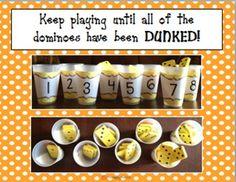 Dunk It Dominoes addition game for primary students Math Classroom, Kindergarten Math, Teaching Math, Elementary Math, Classroom Decor, Preschool, Fun Math, Math Activities, Therapy Activities