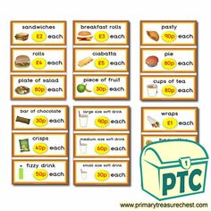 Sandwich Shop Role Play Resources - Primary Treasure Chest Fruit Cups, Fruit Plate, Carrot Sticks, Shop Price, Sandwich Shops, Mixed Fruit, Chicken Nuggets, Ciabatta, Sandwiches