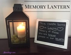 This Memory Lantern is a great way to remember your loved ones on your special day. Whether you use this at your wedding or a family reunion, it will bring comfort to know that your loved ones are being remembered. Easy DIY for your memorial table.
