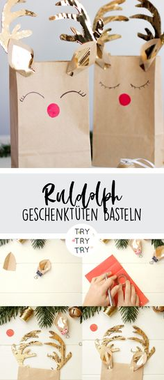 Rudolph the Red Nosed Reindeer - Geschenktüten / Weihnachten Geschenke / Geschenkverpacken / Rentier-Geschenkverpackung / DIY Geschenke verpacken