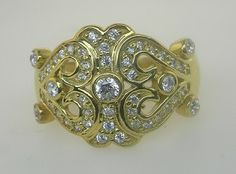 New 1/2ct Genuine Diamond Antique Style Cluster Ring Right Hand Ring 14kt White or Yellow Gold Sizes 3-10