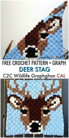 """Free Crochet Pattern + Graph: """"Deer Stag"""" Square - Wildlife Graphghan CAL Block 8 The Deer Stag is the square of the Wildlife Graphghan CAL. Find the free crochet pattern + graph on My Hobby is. Crochet Afghans, C2c Crochet, Crochet Squares, Crochet Blanket Patterns, Knitting Patterns, Free Crochet Square, Pixel Crochet Blanket, Afghan Patterns, Crochet Pixel"""