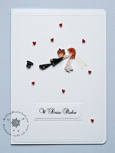 Would do anything for love - bespoken wedding card, with stick newlyweds made from 3 mm paper strips. Quirky wedding card handmade in Ireland.