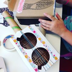 Kids paper craft - musical instruments with recycled boxes