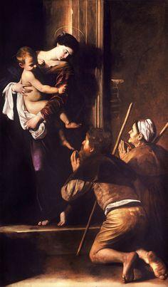 Madonna dei Pellegrini, Caravaggio, olio su tela, 1604, Basilica di Sant'Agostino a Roma.