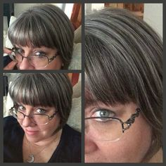 One month after the final haircut to remove all the old hair-color. Here it is 58 weeks since I began. All silver and a bit of brown. My hair is so much softer, healthier and bouncy! Growing out the old haircolor was the hardest thing Ive ever done. But it was totally worth it! #ellendugan #revolutiongray #embracethesilverfoxwithin
