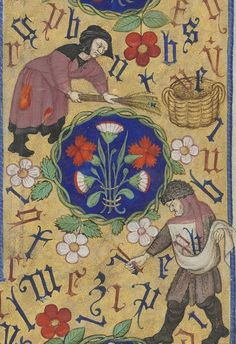 Bibliothèque nationale de France, Département des manuscrits, Latin 1156B, detail of f. 135r (man and woman gathering letters of the alphabet). Book of Hours, use of Rome (15th century)