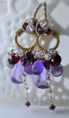 I am the proud owner of these!!!  RESERVED oOo The HELLEBORE Earrings oOo purple by EmilyGrayJewels, $80.00
