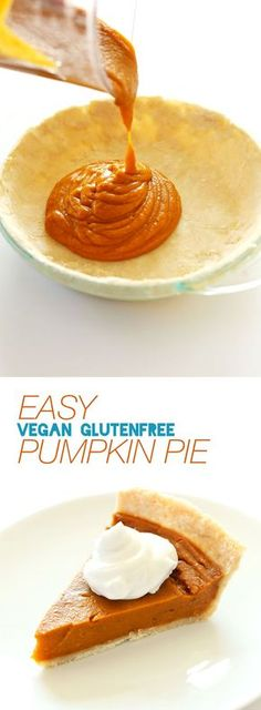 PERFECT Vegan GF Pumpkin Pie that tastes just like or BETTER than the original! 10 ingredients, flavorful, SO delicious #vegan #glutenfree