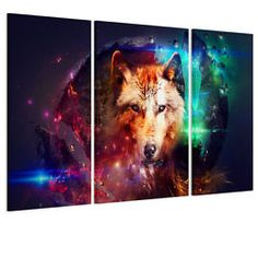 HD Canvas Prints Picture Wall Art Hanging - Colorful Wolf Unframed No Frame