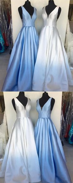 Pretty satin prom long dress v-neck formal ball gowns for evening party P1933